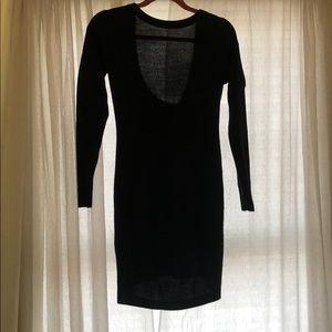 Black open back long sleeve BCBG sweater dress